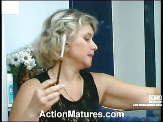 Filthy mature doll knows how to sate junior fellow in suck-n-fuck act