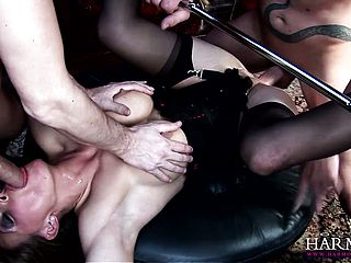 Horny, big-tittied bi atch gets encircled by bare and enormously thirsty fellows