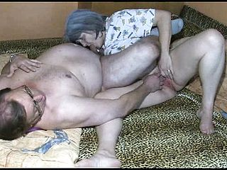 Large aged grandmother playthings her honeypot and deep throats on a large elderly mans man sausage