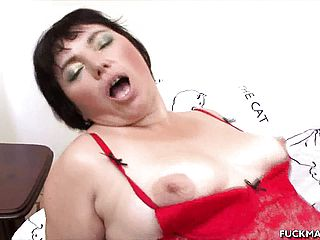 Plump mature Anna blows and gets ravaged in her undergarments and munches jism