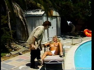 Suntanned blondie Milf gets plowed by her pool man on a lounge stool