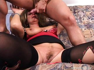 Buxomy elderly blondie whore gets a hard core plowing from a youthfull lollipop