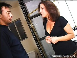 Milf with a large bottom gets a junior boy to nail her rock hard