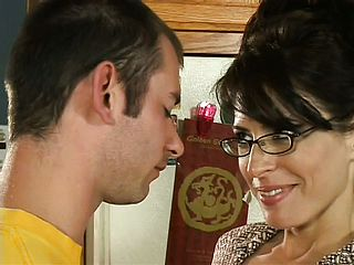 Super naughty dark haired milf tempts her sons in law acquaintance and plows his large chisel with dream