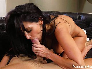 Ava Addams looks over her shoulder while her guy fucks at her