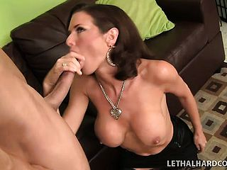 Buxomy brown haired mummy Veronica Avluv tongues the fellows ass fucking fuck hole and tears up his large jizz shotgun