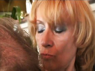 Big chested mature with a wooly thicket slurps beef whistle and gets drilled firm