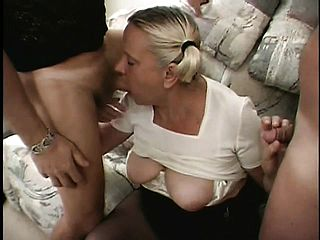 Grandmother Katia has a well used bod but make them both jizz on her