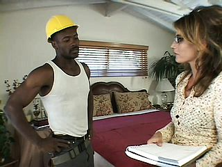 Luscious housewife with adorable bosoms Cherie entices the ebony plumber