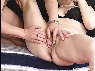 Luscious mature brown haired Monica gets her furry coochie deeply penetrated