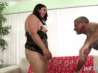 Plump black haired with a marvelous rump Gia frantically drills a firm stick