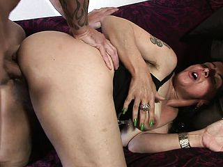 He tears up that old, unshaved grannie beaver firm and rapid on the bed
