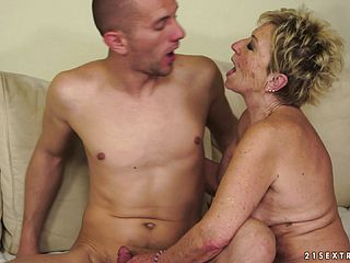 Ultra kinky platinum blonde grandmother dangles on for some firm spear and a deep pounding
