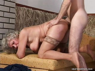 Lusty grandma wants to have her muff packed by a youthful stallion
