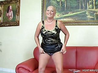 Red hot mature platinum blonde with large all natural mounds and marvelous lengthy gams unveils her insane side