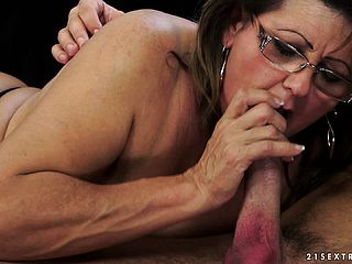 Mischievous mature damsel captures the opportunity to inhale a large shaft and makes the most of it