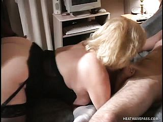 Sophisticated doll gets her honeypot pleasured by 2 stiff piles