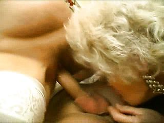 Ultra kinky mature chicks take turns throating and pounding a youthfull mans penis