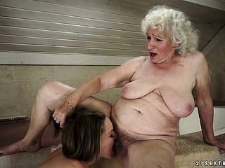 Youthful lesbo hoochie trading oral abilities with an ancient grannie