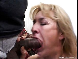 Crazy light haired mummy in dark hued tights has 2 men penalizing her fuck holes