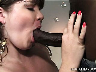 Lexxxi Luxe makes a humungous dark hued pipe disappear inbetween her Bbw orbs