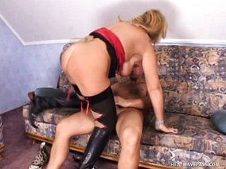 Stacked mature blond in dark hued tights gets banged by a youthful man
