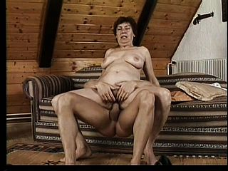 Valda takes a thick weenie in her fur covered mature slit and squeals with elation