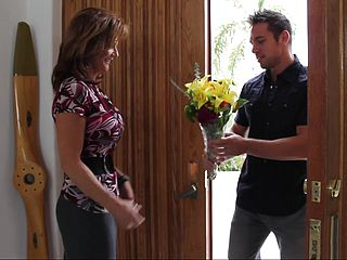 Bringing flowers to his hottest buddys mommy