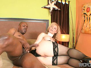 Blonde Milf in pantyhose gets her juicy rump packed by a Bbc