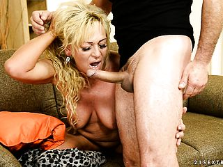 Chesty platinum blonde mummy has a youthful mans rigid shaft making her fuckbox blessed