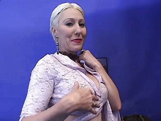 Mature nymph with brief platinum blonde hair and large bra stuffers luvs 2 ebony spunk pumps
