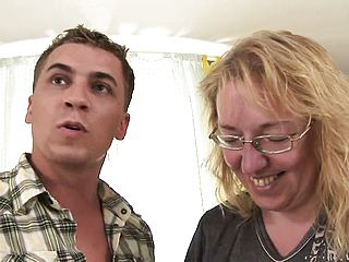 Obese mature blondie mega slut gets a super cute lump of youthfull meat to have fun with