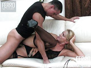 Delectable blondie milf in magnificent dark hued undergarments Bridget gets pulverized firm by a youthful fellow