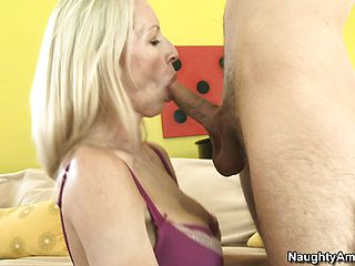 Emma chews on his man rod and gets tongued and porked on her back