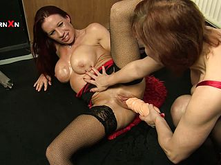 Lush older redheads give each other a plowing with their knuckles