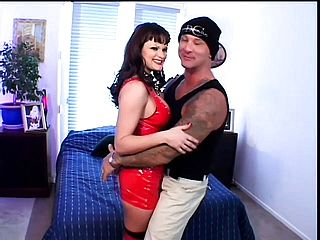Wild black haired kinkster in spandex and high high heeled shoes gets her bootie pulverized